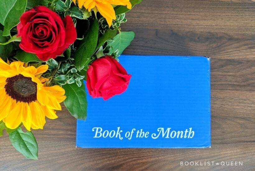 Book of the Month February 2021 Selections - blue box, roses, sunflowers