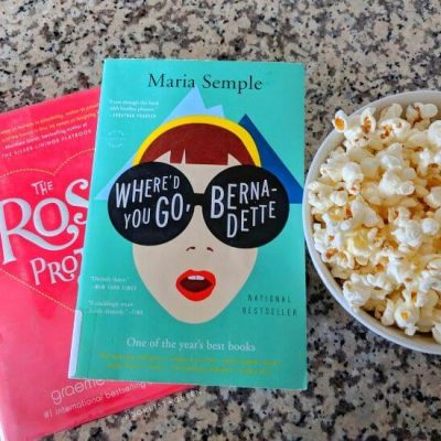 The Rosie Project and Where'd You Go, Bernadette with bowl of popcorn
