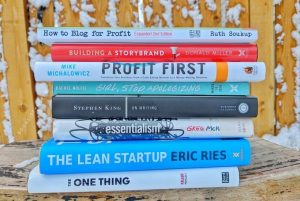 Book stack - business books for bloggers