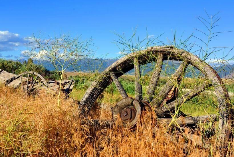 wagon wheel in field