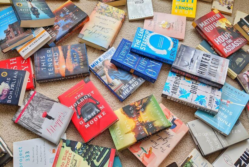 How to Declutter Books - books scattered across the floor