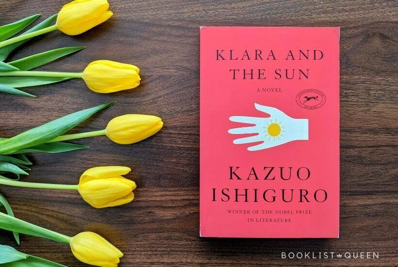 March 2021 Book Releases - yellow tulips and Klara and the Sun by Kazuo Ishiguro