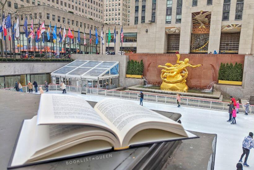 open book at Rockefeller Center ice rink