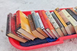 Books on a red sled