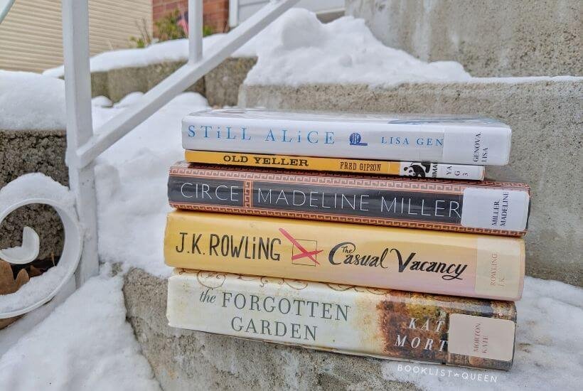 book stack - Still Alice, Old Yeller, Circe, The Casual Vacancy, and The Forgotten Garden
