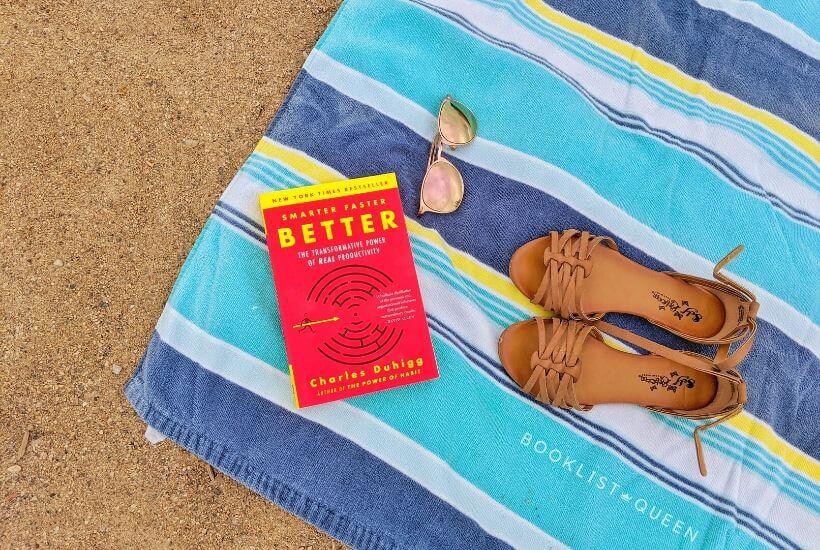 Smarter Faster Better, beach read, book, beach towel, sand, sandals, sunglasses, summer reading list 2020