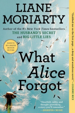 book cover What Alice Forgot by Liane Moriarty