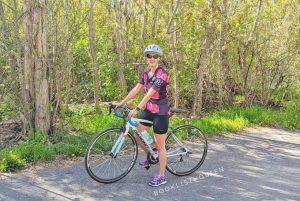 Rachael riding a bike